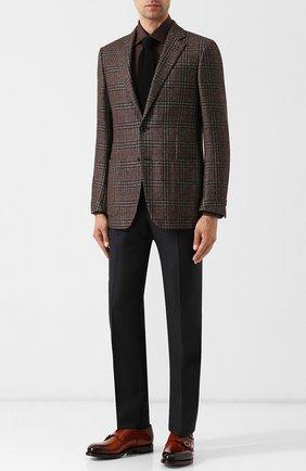 Однобортный пиджак из смеси шелка и кашемира Ermenegildo Zegna коричневый | Фото №1