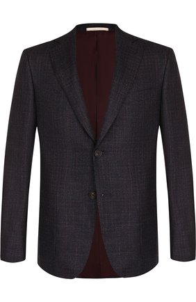 Однобортный пиджак из смеси шерсти и кашемира с шелком Pal Zileri темно-синий | Фото №1