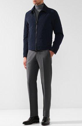 Стеганая куртка с отложным воротником Pal Zileri темно-синяя | Фото №1