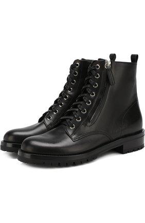 Женские кожаные ботинки на шнуровке с молнией GIANVITO ROSSI черного цвета, арт. G70695.20CU0.VIPNER0 | Фото 1