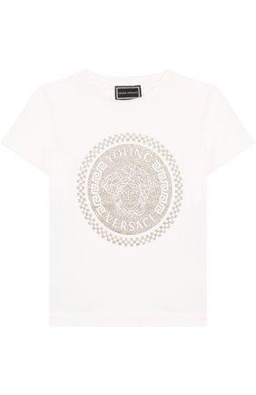 Детская хлопковая футболка с металлизированным принтом Young Versace белого цвета | Фото №1