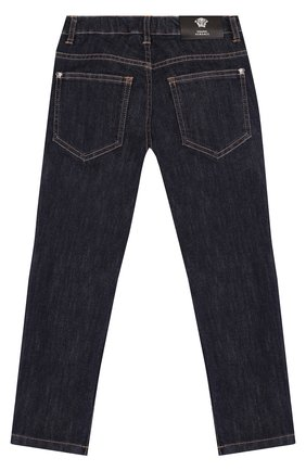 Детские джинсы прямого кроя Young Versace синего цвета | Фото №1
