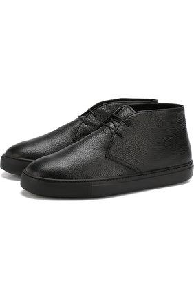 Кожаные ботинки на шнуровке Fratelli Rossetti черные | Фото №1
