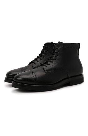 Кожаные ботинки с брогированием H`D`S`N Baracco черные | Фото №1