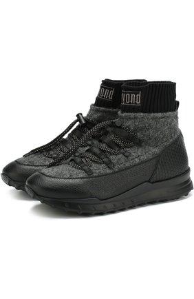 Комбинированные кроссовки на шнуровке Beyond темно-серые | Фото №1