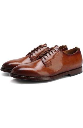Классические кожаные дерби Officine Creative коричневые   Фото №1