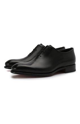 Мужские классические кожаные оксфорды SANTONI черного цвета, арт. MCCR16229MC1HVVDN01   Фото 1