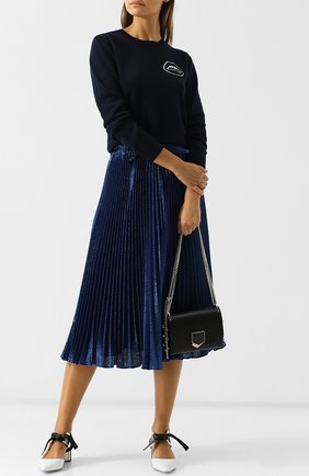 Женская шерстяной пуловер с круглым вырезом и декоративной отделкой MARKUS LUPFER темно-синего цвета, арт. KN2392 | Фото 2