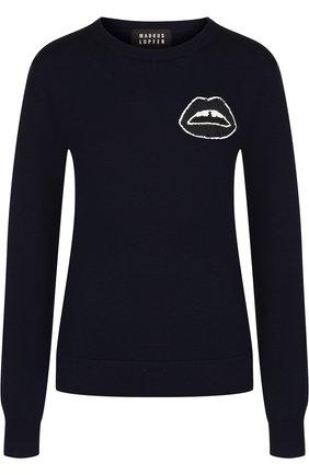 Шерстяной пуловер с круглым вырезом и декоративной отделкой Markus Lupfer темно-синий | Фото №1
