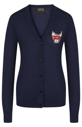 Шерстяной кардиган с декоративной вышивкой Markus Lupfer темно-синий | Фото №1