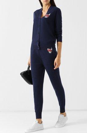 Шерстяные джоггеры с декоративной вышивкой Markus Lupfer темно-синие | Фото №1