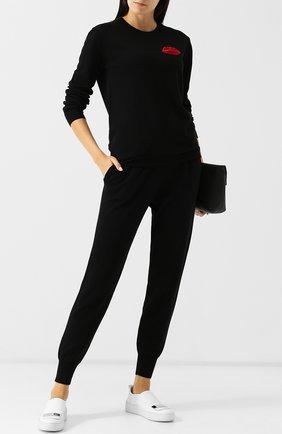 Шерстяной пуловер с декоративной отделкой Markus Lupfer черный | Фото №1