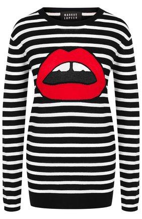 Хлопковый пуловер в полоску с круглым вырезом Markus Lupfer разноцветный | Фото №1