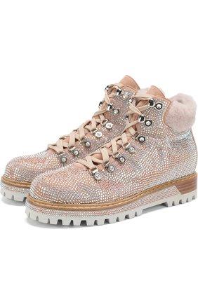 Замшевые ботинки с внутренней отделкой из овчины Le Silla светло-розовые | Фото №1