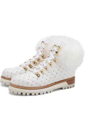 Кожаные ботинки с внутренней отделкой из меха кролика Le Silla белые | Фото №1