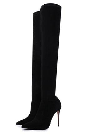 Замшевые ботфорты на шпильке Le Silla черные | Фото №1