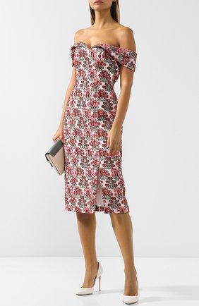Приталенное платье-миди с декоративной вышивкой и открытыми плечами Erdem разноцветное | Фото №1