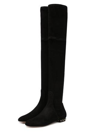Замшевые ботфорты Valentino Garavani Rockstud на декорированном каблуке | Фото №1