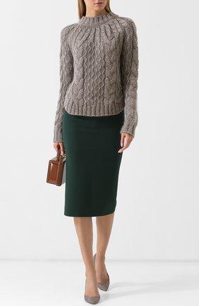 Однотонная шерстяная юбка на молнии Roland Mouret зеленая | Фото №1