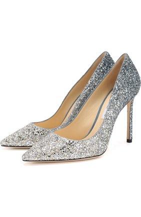 Женская туфли romy 100 с глиттером на шпильке JIMMY CHOO серебряного цвета, арт. R0MY 100/BRE | Фото 1