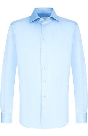 Мужская хлопковая сорочка с воротником кент BRIONI голубого цвета, арт. RCL07B/PZ042 | Фото 1