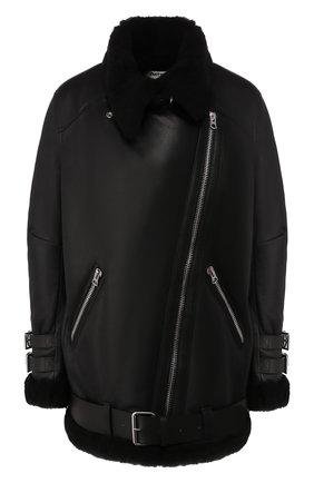 Женская дубленка с косой молнией ACNE STUDIOS черного цвета, арт. 1AQ173 | Фото 1