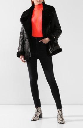 Женская дубленка с косой молнией ACNE STUDIOS черного цвета, арт. 1AQ173 | Фото 2