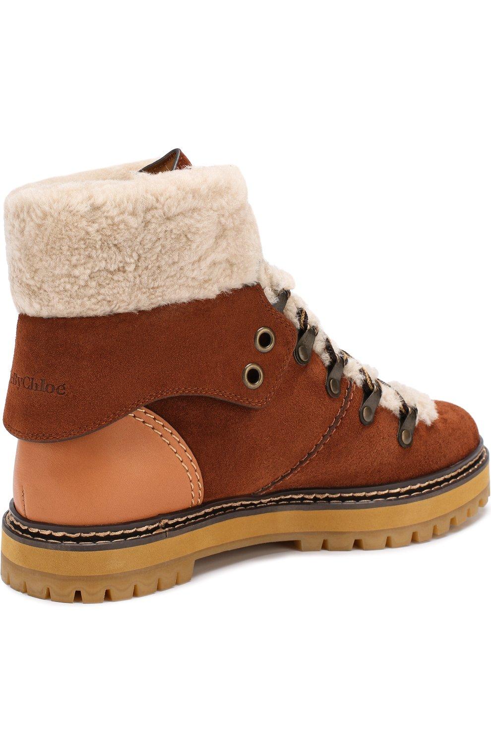 0b376486f24c Замшевые ботинки с внутренней отделкой из овчины See by Chloé коричневые    Фото №4