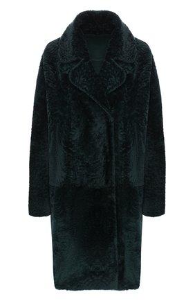 Меховое пальто с отложным воротником DROMe темно-зеленая | Фото №1