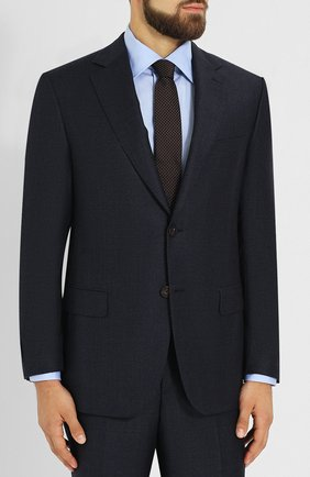 Шерстяной костюм с пиджаком на двух пуговицах Pal Zileri темно-синий | Фото №1