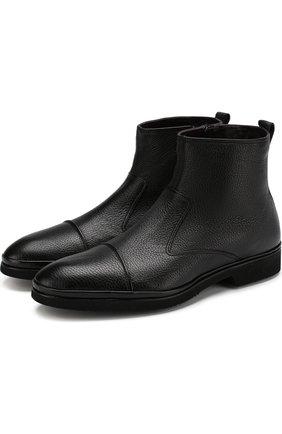 Высокие кожаные ботинки на молнии с внутренней меховой отделкой Aldo Brue черные | Фото №1