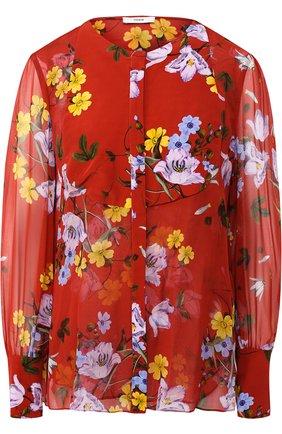Шелковая блуза с круглым вырезом и принтом | Фото №1