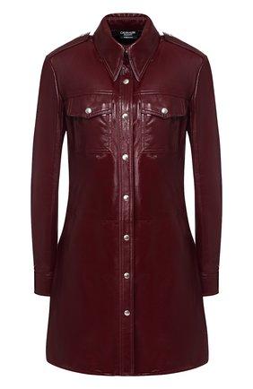Кожаное платье с накладными карманами