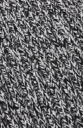 Шерстяной шарф фактурной вязки Stone Island черно-белый | Фото №1