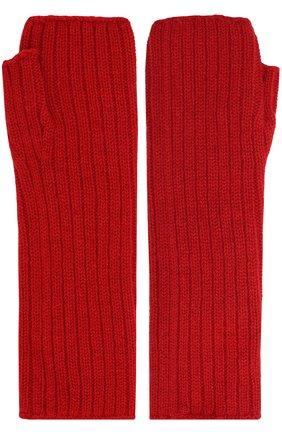 Вязаные митенки из кашемира Johnstons Of Elgin красные | Фото №1