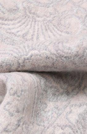 Шарф из смеси кашемира и шерсти с узором и бахромой Johnstons Of Elgin светло-серый | Фото №1