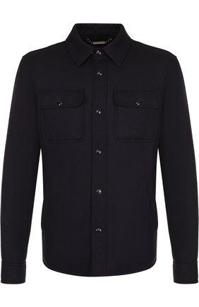 Шерстяная рубашка с воротником кент | Фото №1