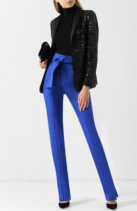 Однотонные брюки из смеси шерсти и шелка с поясом