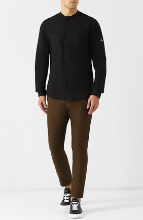Хлопковая рубашка с воротником мандарин Stone Island черная | Фото №1