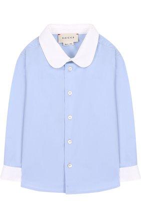 Детский хлопковая сорочка с контрастной отделкой GUCCI голубого цвета, арт. 522782/XBE56 | Фото 1