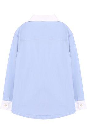 Детский хлопковая сорочка с контрастной отделкой GUCCI голубого цвета, арт. 522782/XBE56 | Фото 2
