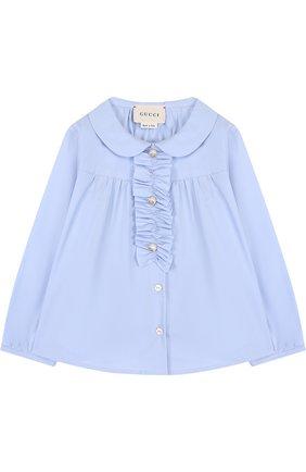 Хлопковая блуза с рюшем | Фото №1