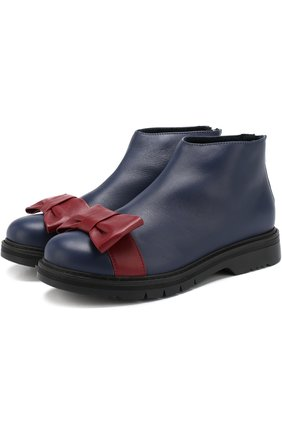 Кожаные ботинки с бантом | Фото №1