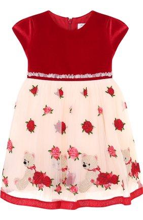 Платье с пышной юбкой и вышивкой Monnalisa красного цвета | Фото №1