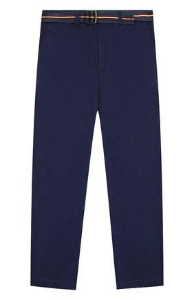 Хлопковые брюки с поясом   Фото №1