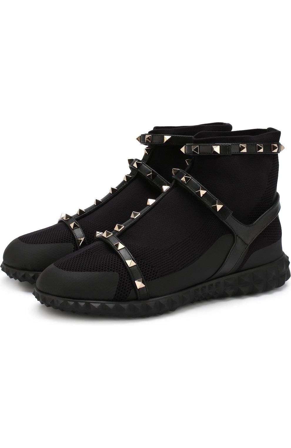 4af1e6bd55e4 Женские черные текстильные кроссовки valentino garavani rockstud ...