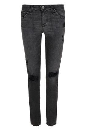 Укороченные джинсы с потертостями Ag серые   Фото №1