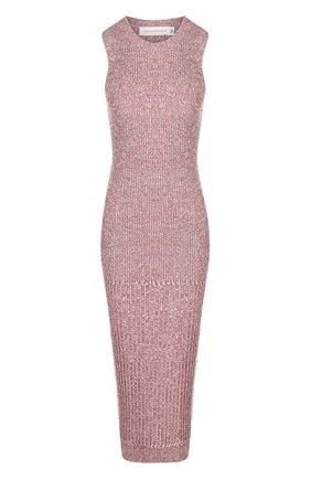 Вязаное платье-миди с круглым вырезом Victoria Beckham красное | Фото №1