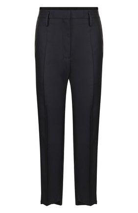 Укороченные брюки со стрелками и контрастной отделкой | Фото №1