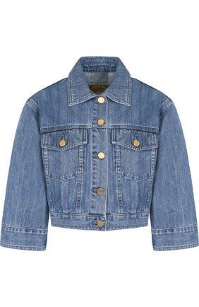 Укороченная джинсовая куртка с потертостями MICHAEL Michael Kors голубая   Фото №1